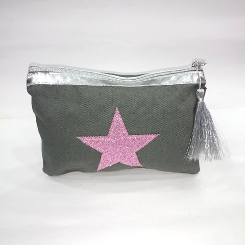 Pink Star Cosmetic/Travel Pouch in Grey Color - BestP : Best Product at Best Price