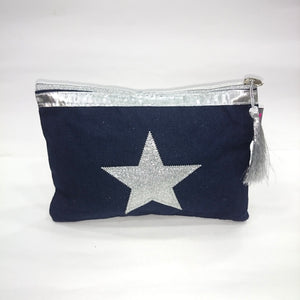 Silver Star Cosmetic/Travel Pouch in Dark Blue Color - BestP : Best Product at Best Price