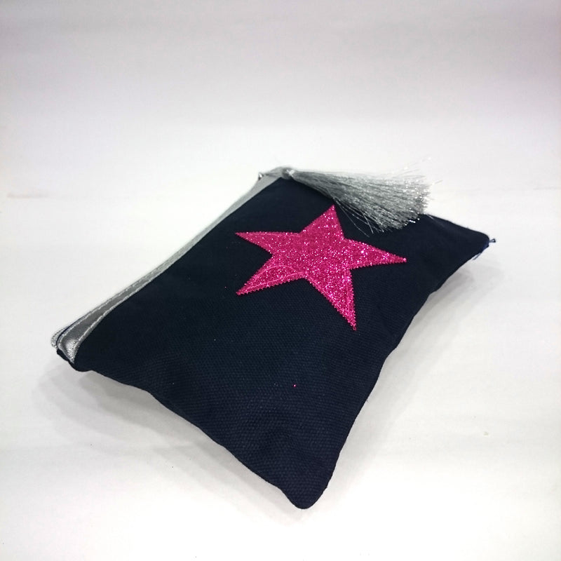 Pink Star Cosmetic/Travel Pouch in Deep Blue Color - BestP : Best Product at Best Price