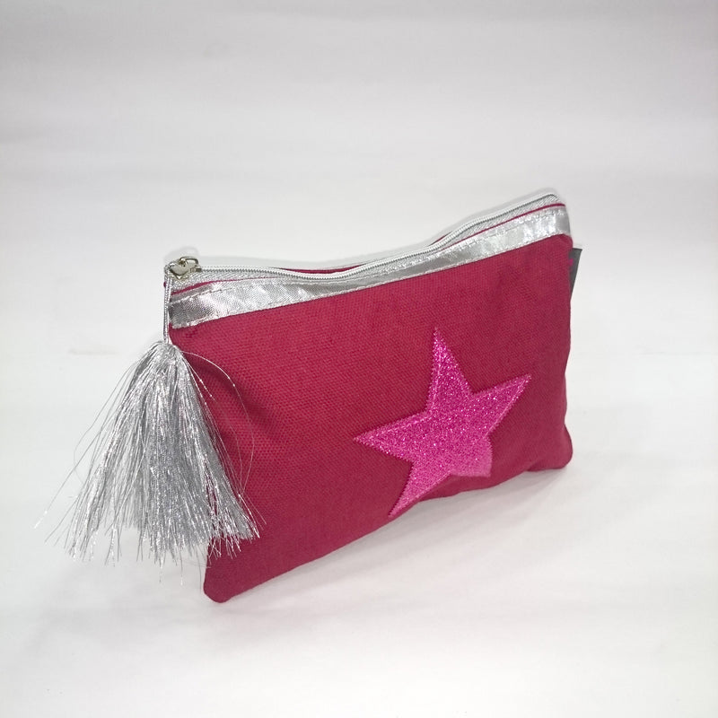 Pink Star Cosmetic/Travel Pouch in Red Color - BestP : Best Product at Best Price