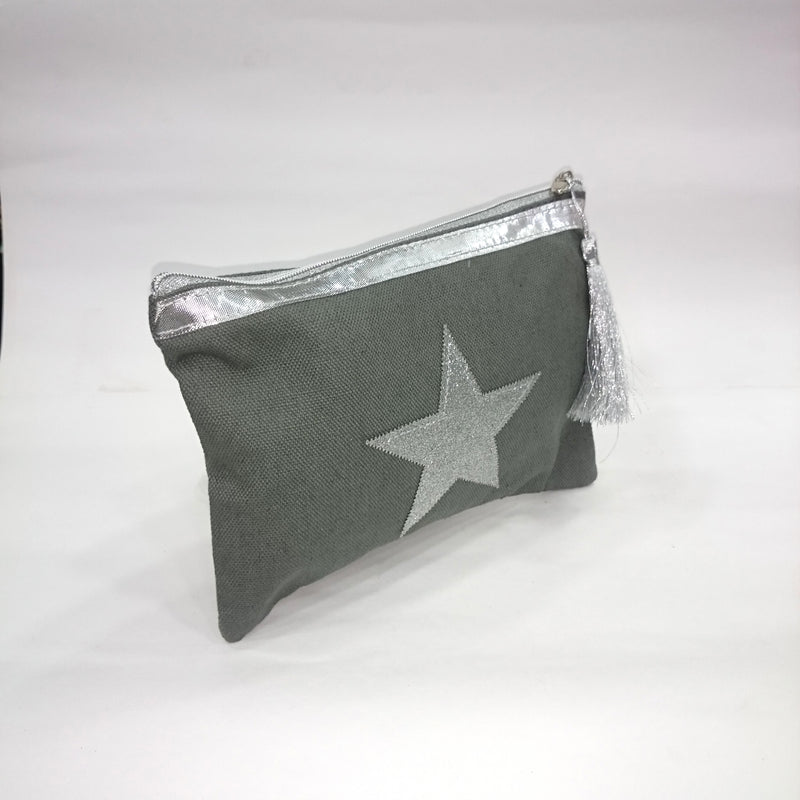 Silver Star Cosmetic/Travel Pouch in Grey Color - BestP : Best Product at Best Price
