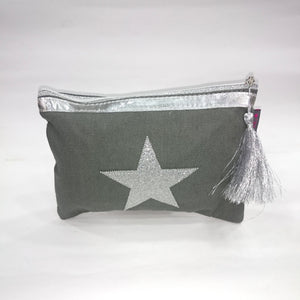 Silver Star Cosmetic/Travel Pouch in Grey Color - Best Price Company India