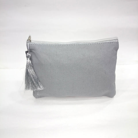 Solid Cosmetic/Travel Pouch in Light Grey Color - Best Price Company India