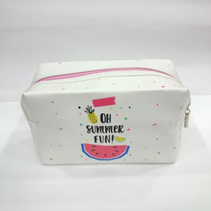 Summer Fun Print Cosmetic/Travel Pouch in White Color - Best Price Company India