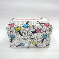 Beautiful Print Cosmetic/Travel Pouch in White Color - Best Price Company India