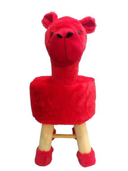 Wooden Animal Stool for Kids (Alpak Red)| with Removable Fabric Cover (Red) 42 CM