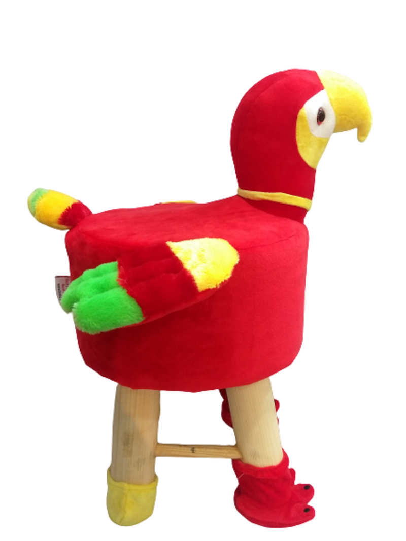 Wooden Bird Stool for Kids (Parrot) | Round High Neck | With Removable Soft Fabric Cover (Red) 42 CM