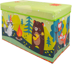 BestP Cute Bear Print Storage Box | Folding Storage Box | Under Lid Storage with Padded Seat - Best Price Company India