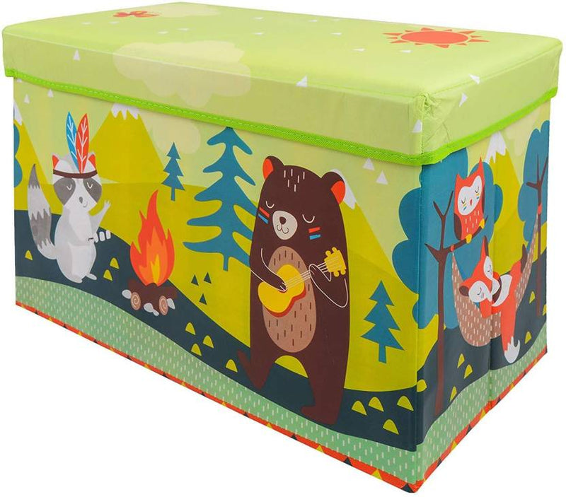 BestP Cute Bear Print Storage Box | Folding Storage Box | Under Lid Storage with Padded Seat - BestP : Best Product at Best Price