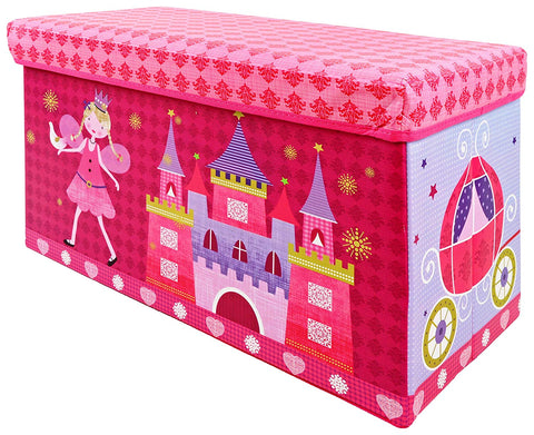 BestP Fairy Castle Print Storage Box | Folding Storage Box | Under Lid Storage with Padded Seat - Best Price Company India
