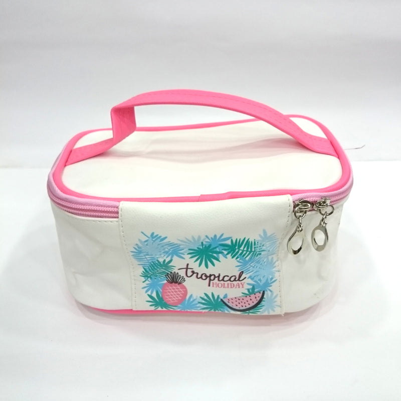 Holiday Print Cosmetic/Travel Bag in White Color - BestP : Best Product at Best Price