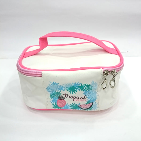 Holiday Print Cosmetic/Travel Bag in White Color - Best Price Company India
