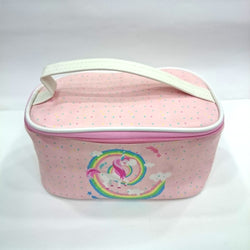 Unicorn Rainbow Print Cosmetic/Travel Bag in Light Pink Color - Best Price Company India