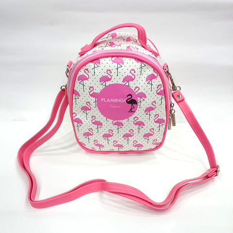 Flamingo Print Sling Bag in White Color | Cosmetic/Travel Bag - BestP : Best Product at Best Price