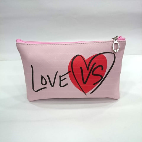 Love Print Cosmetic/Travel Pouch in Light Pink Color - Best Price Company India