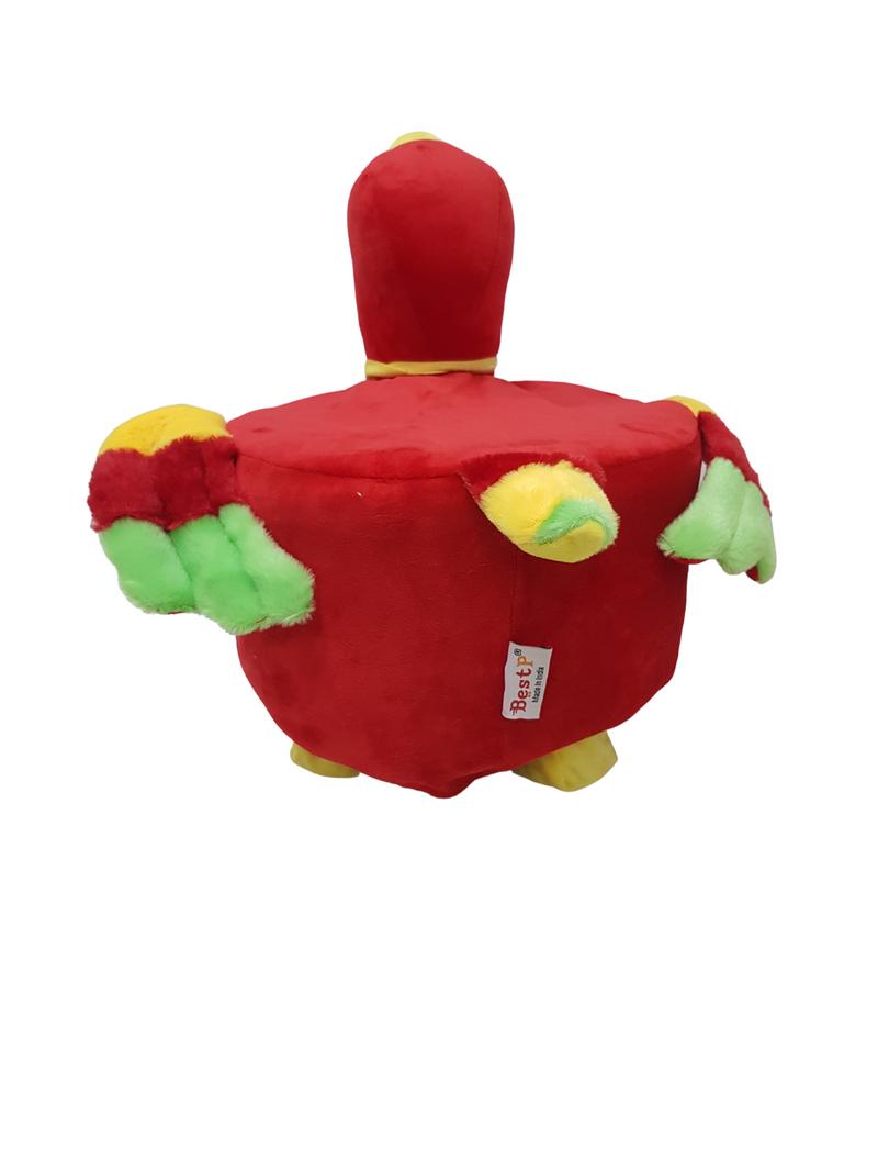 BestP Wooden Bird Stool for Kids (Parrot) | Round High Neck | With Removable Soft Fabric Cover (Red) 20 CM