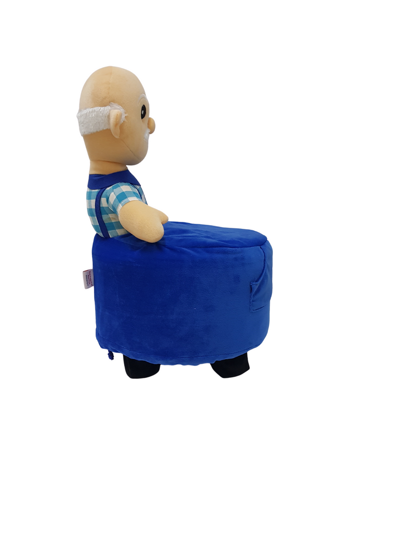 BestP Wooden Grand Father Doll Kids Stool in Blue Colour with Removable Soft Fabric Cover 20 CM