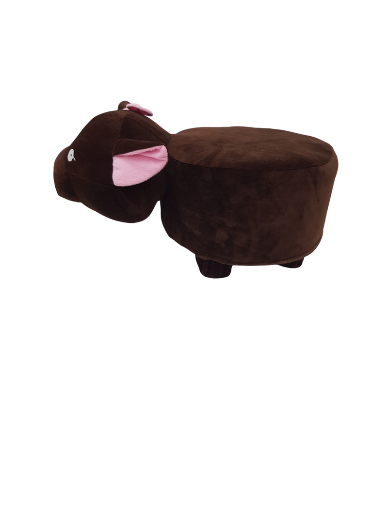 BestP Limited Edition Wooden Animal Stool for Kids (Pig )| with Removable Fabric Cover (Brown) 20 CM