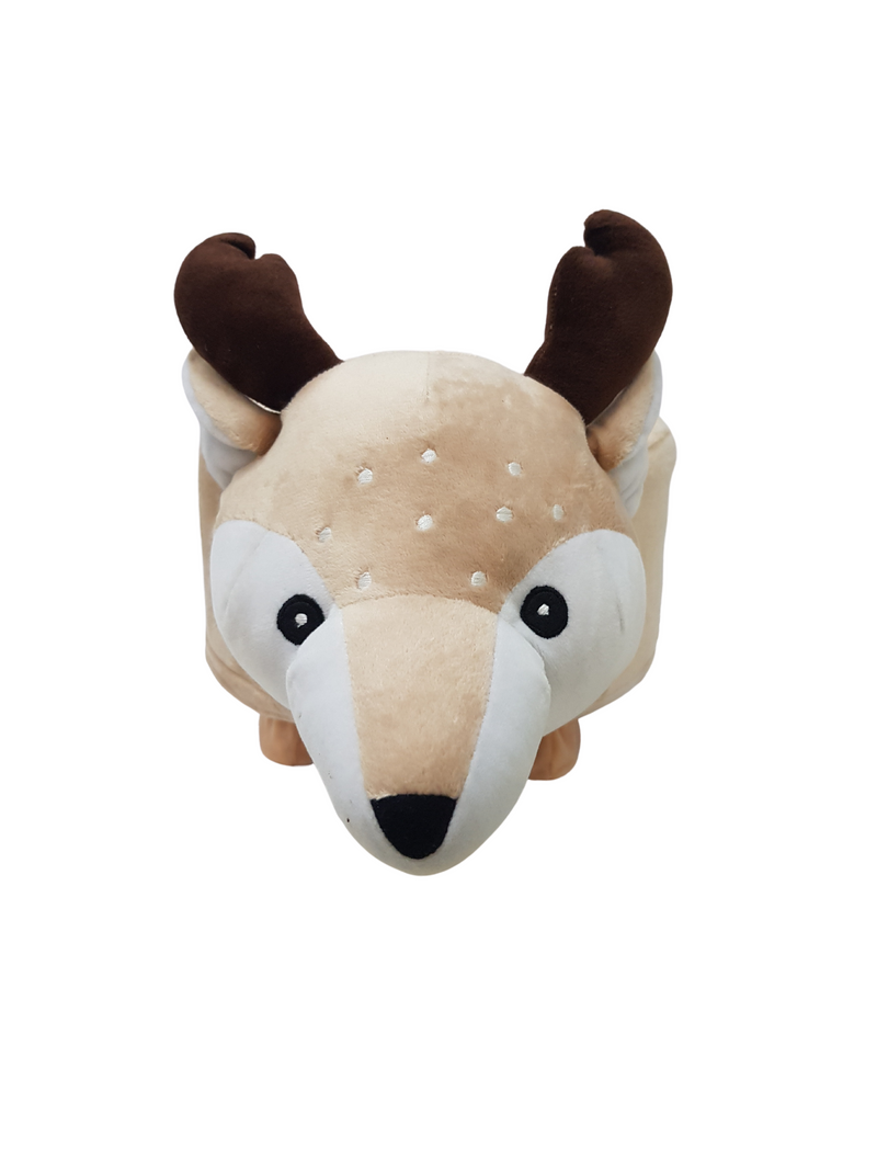 BestP Wooden Animal Stool for Kids (Deer) With Removable Soft Fabric Cover | (Brown) 20 CM