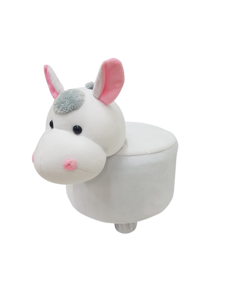BestP Wooden Animal Stool for Kids (Donkey) | with Removable Fabric Cover (White) 20 CM