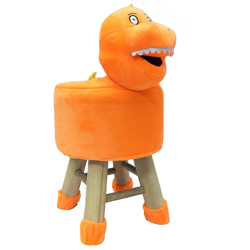 Wooden Animal Stool for Kids (Dinosaur)| With Removable Soft Fabric Cover | (Orange) 42 CM