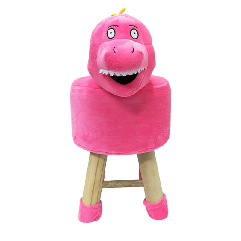 Wooden Animal Stool for Kids (Dinosaur)| With Removable Soft Fabric Cover | (Pink) 42 CM