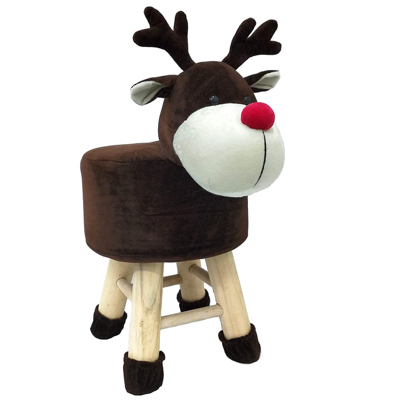 Wooden Animal Stool for Kids (Rudolph)| with Removable Fabric Cover (Mahogany) 42 CM
