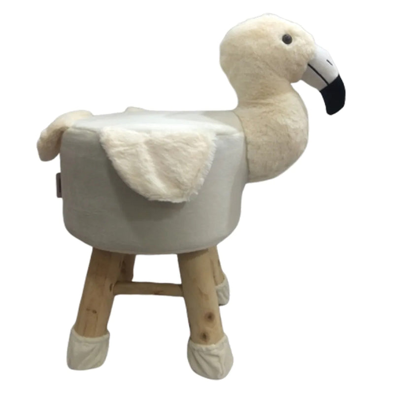 Wooden Animal Stool for Kids (Flamingo)| with Removable Fabric Cover (Offwhite) 42 CM