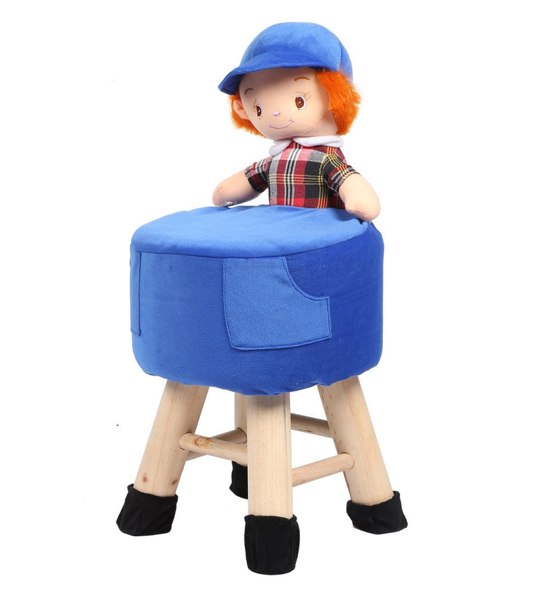 Wooden Boy Doll Kids Stool in Blue Colour with Removable Soft Fabric Cover 42 CM