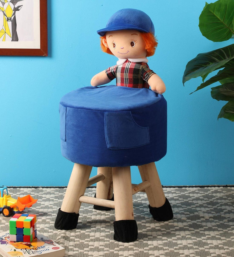BestP Wooden Boy Doll Kids Stool in Blue Colour with Removable Soft Fabric Cover