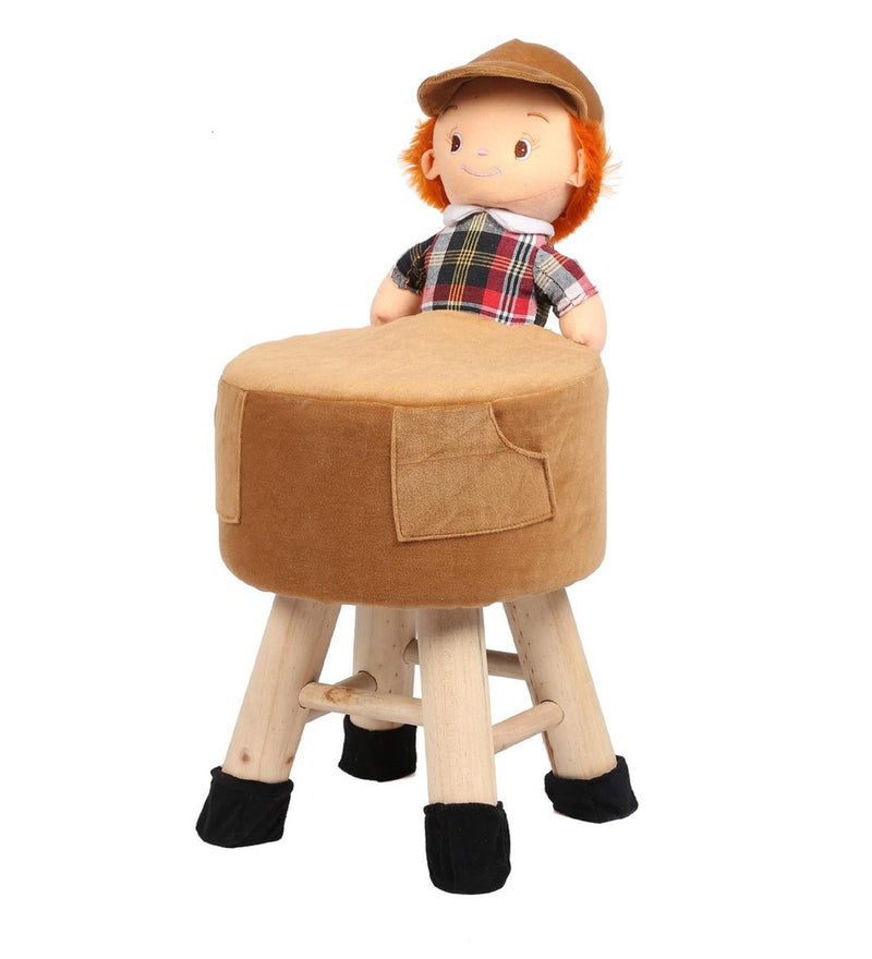 Wooden Boy Doll Kids Stool In Brown Colour with Removable Soft Fabric Cover 42 CM
