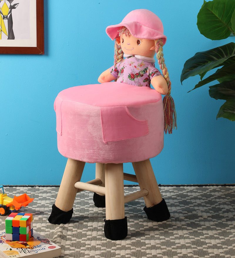 Wooden Girl Doll Kids Stool in Pink Colour with Removable Soft Fabric Cover 42 CM