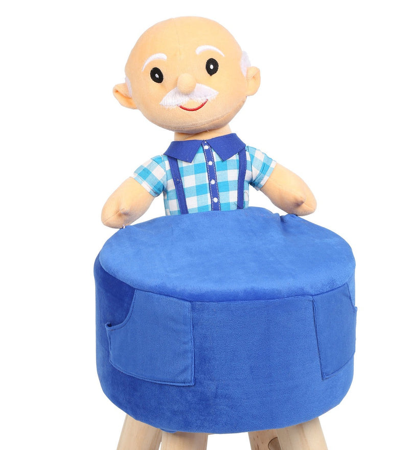 Wooden Grand Father Doll Kids Stool in Blue Colour with Removable Soft Fabric Cover 42 CM