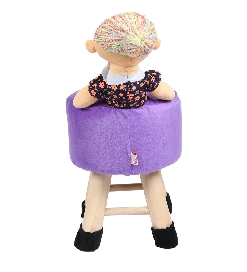 Wooden Grand Mother Doll Kids Stool in Purple Colour With Removable Soft Fabric Cover 42 CM