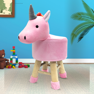 Wooden Animal Stool for Kids (Unicorn) | Round High Neck | With Removable Soft Fabric Cover | (Pink) - BestP : Best Product at Best Price