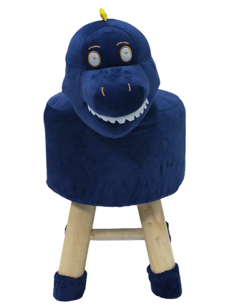 Wooden Animal Stool for Kids (Dinosaur)| With Removable Soft Fabric Cover | (Blue) 42 CM