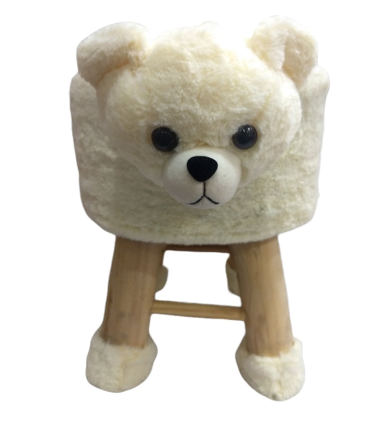 Wooden Animal Stool for Kids (Polar Bear) | with Removable Fabric Cover (White) 42 CM