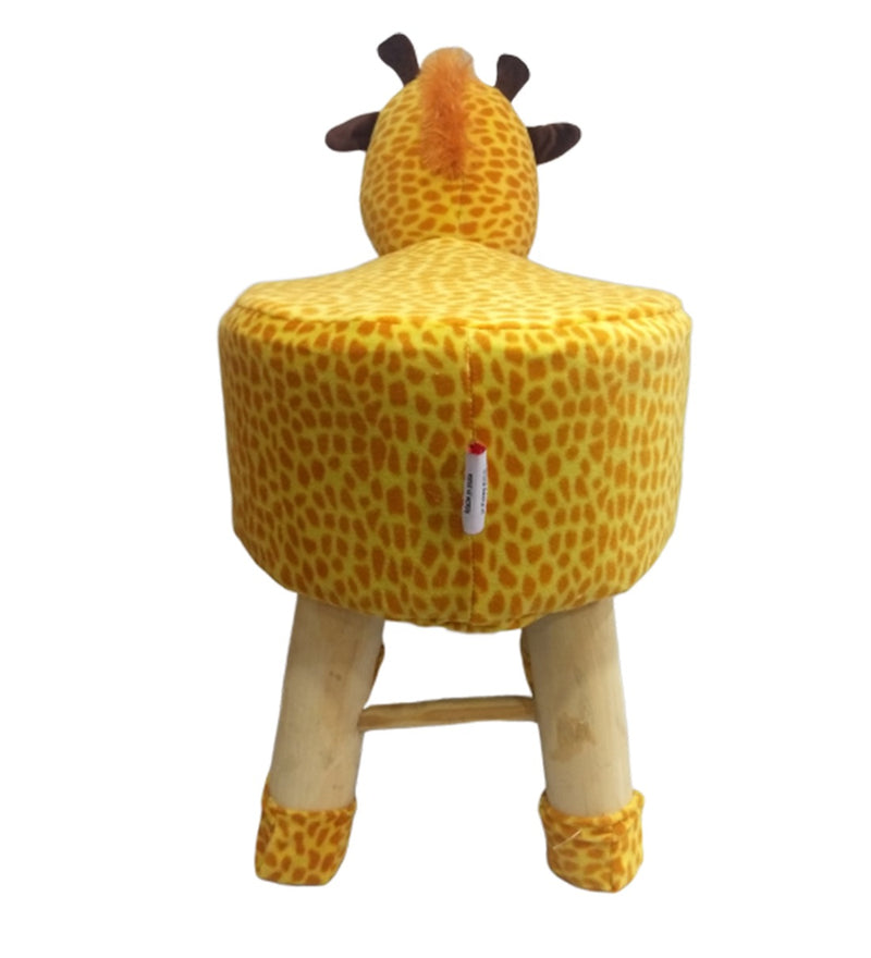 Wooden Animal Stool for Kids (Giraffe)| with Removable Fabric Cover (Yellow) 42 CM