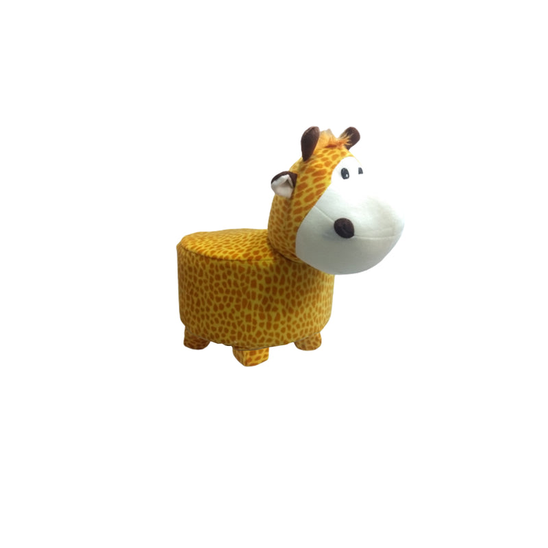 Wooden Animal Stool for Kids (Giraffe)| with Removable Fabric Cover (Yellow)