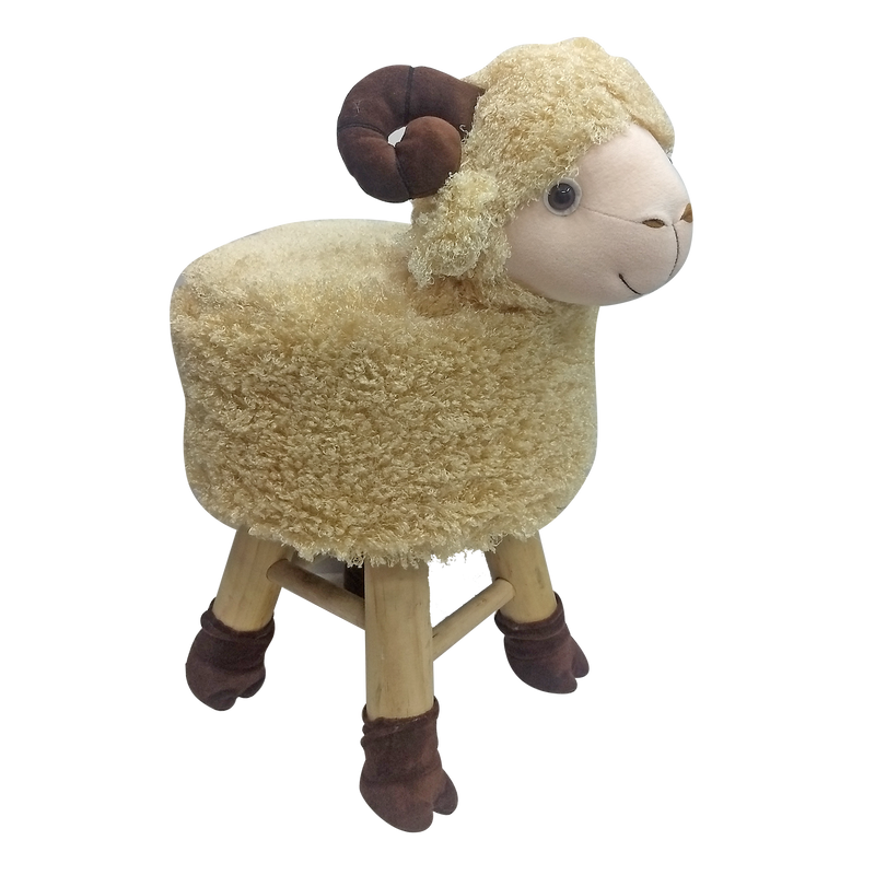 Wooden Animal Stool for Kids (Sheep) | Round High Neck | With Removable Soft Fabric Cover |(GOLD)