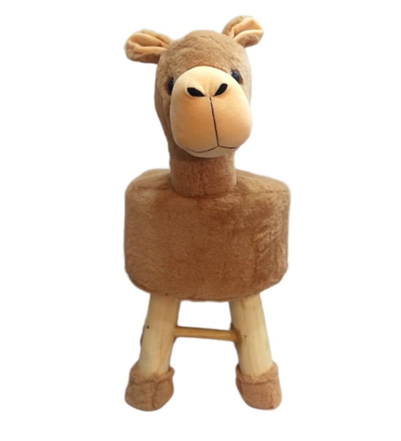 Wooden Animal Stool for Kids (Alpak Brown)| with Removable Fabric Cover (Brown) 42 CM