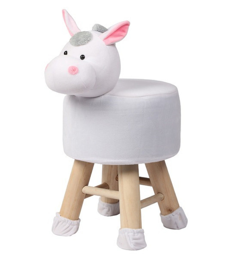 Wooden Animal Stool for Kids (Donkey) | with Removable Fabric Cover (White) 42 CM