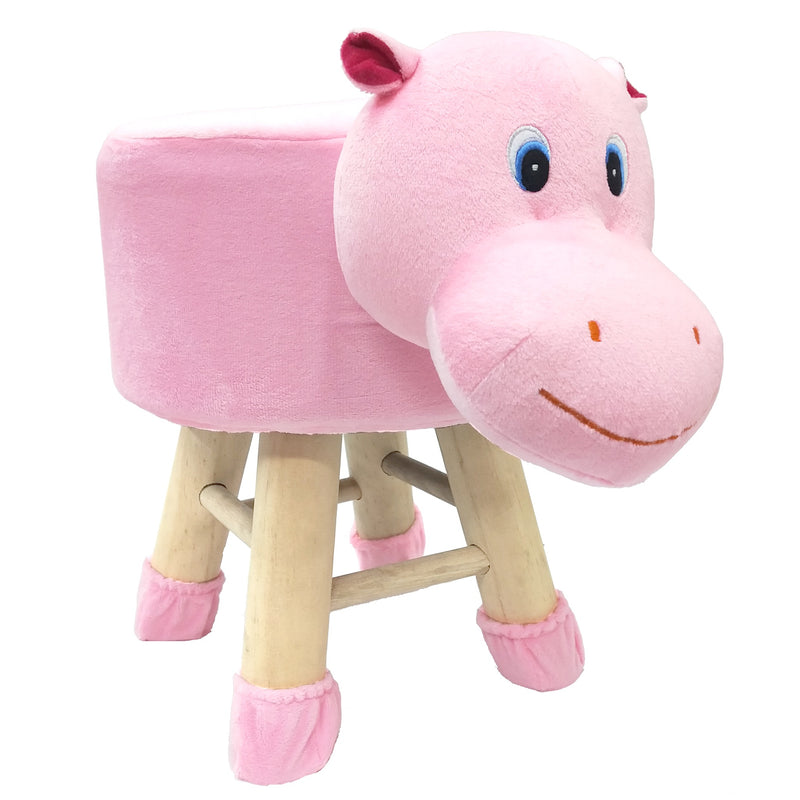 Wooden Animal Stool for Kids (Hippo)| With Removable Soft Fabric Cover | (Pink) 42 Cm