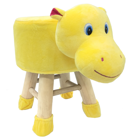 Wooden Animal Stool for Kids (Hippo)| With Removable Soft Fabric Cover | (Yellow) - BestP : Best Product at Best Price