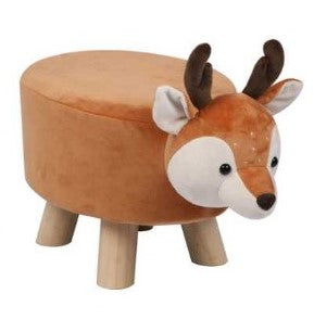 Wooden Animal Stool for Kids (Raindeer) | Small Oval | With Removable Soft Fabric Cover | (Orange) - Best Price Company India