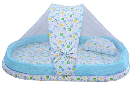 BestP Baby Mattress with Mosquito Net and Bumper Guard (Blue) - BestP : Best Product at Best Price
