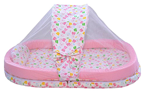 BestP Baby Mattress with Mosquito Net and Bumper Guard (Pink) - BestP : Best Product at Best Price