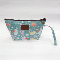 Assorted Kitty Print Cosmetic & Travel Bag in Rusty Blue Color | With Side Handle - Best Price Company India