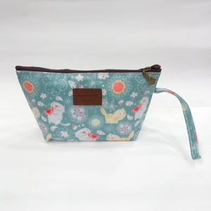 Assorted Kitty Print Cosmetic & Travel Bag in Rusty Blue Color | With Side Handle - BestP : Best Product at Best Price