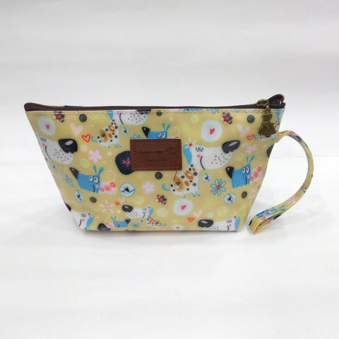 Cartoon Dog Print Cosmetic & Travel Bag in Rusty Yellow Color | With Side Handle - BestP : Best Product at Best Price